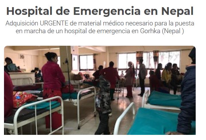 Ayuda de Emergencia 2021: Proyecto Emergencia covid-19 Nepal